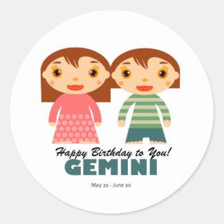 Gemini Zodiac for kids Round Sticker