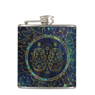 Gemini Zodiac Gold Abalone on Constellation Hip Flask