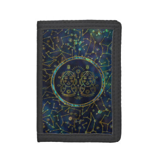 Gemini Zodiac Gold Abalone on Constellation Tri-fold Wallet