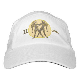 Gemini Zodiac Knit Performance Hat, White Cap