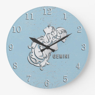 Gemini Zodiac Shabby Chic Number Large Clock