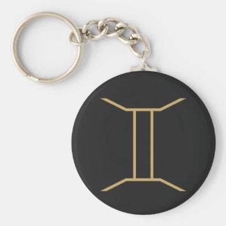Gemini Zodiac Sign Basic Basic Round Button Key Ring