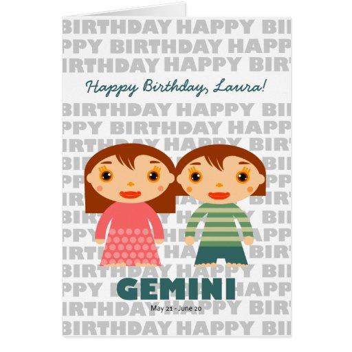 Gemini  Zodiac Sign Birthday Card