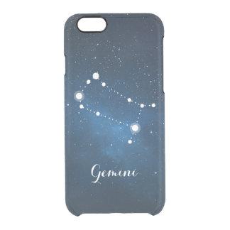 Gemini Zodiac Sign Blue Nebula Clear iPhone 6/6S Case