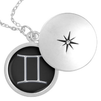 Gemini Zodiac Sign-Faux Metal Design Silver Plated Necklace