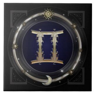 Gemini Zodiac Sign Large Square Tile