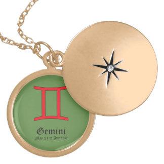 Gemini zodiac sign locket necklace