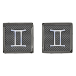 Gemini Zodiac Sign on Charcoal Carbon Fiber Print Gunmetal Finish Cufflinks