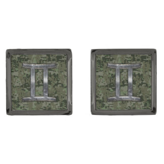Gemini Zodiac Sign on Green Digital Camo Gunmetal Finish Cufflinks