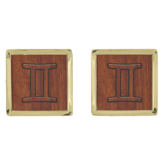 Gemini Zodiac Sign on Mahogany like print Gold Finish Cufflinks