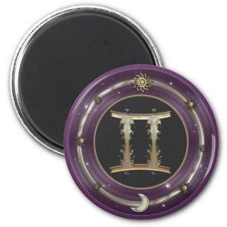 Gemini Zodiac Sign Round Magnet