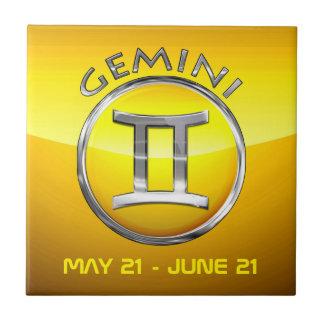 Gemini Zodiac Sign Small Square Tile