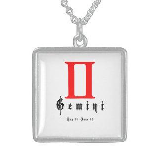 Gemini zodiac sign sterling silver necklace