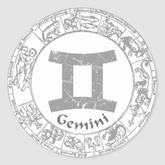 Gemini Zodiac sign vintage Round Sticker