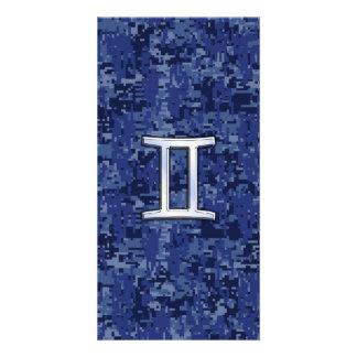 Gemini Zodiac Symbol on Navy Blue Digital Camo Custom Photo Card