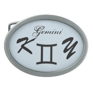 Gemini Zodiac Symbol Standard by Kenneth Yoncich Belt Buckles