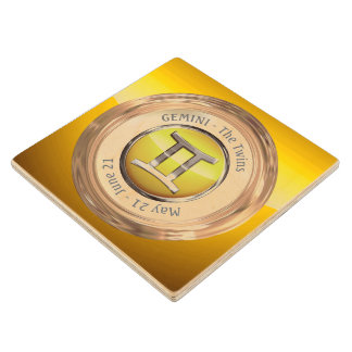 Gemini Zodiac Symbol Wood Coaster