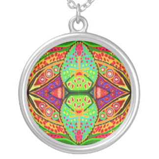 Gems n Jewels - Green Blue Red Golden Round Pendant Necklace