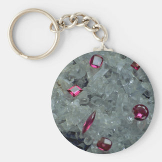 Gems on crystals basic round button key ring