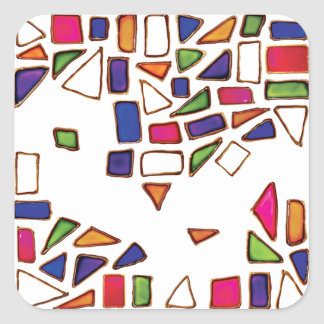 Gems - Pink, Yellow, Green, Blue, Purple Shapes Square Sticker