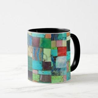 Gemstone Inlay Look Mosaic Mug Turquoise Opal