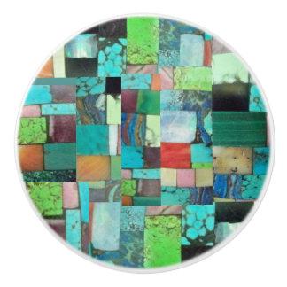 Gemstone Inlay Look Multicolor Mosaic Ceramic Pull