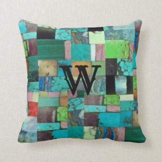 Gemstone Multicolor Mosaic Look Turquoise Pillow