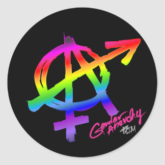 Gender Anarchy Rainbow design on dark background Classic Round Sticker