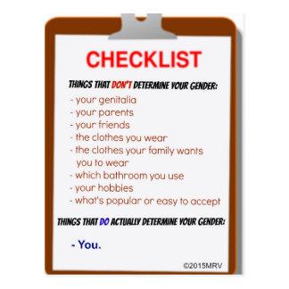 Gender Checklist Postcard