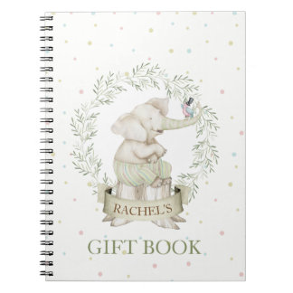 Gender Neutral Baby Elephant Green Beige Notebook