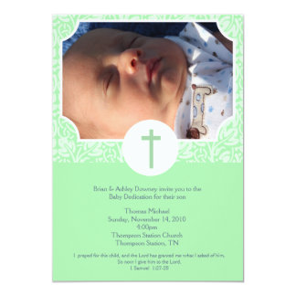 "Gender Neutral Baptism / Baby Dedication 5x7 photo 5"" X 7"" Invitation Card"
