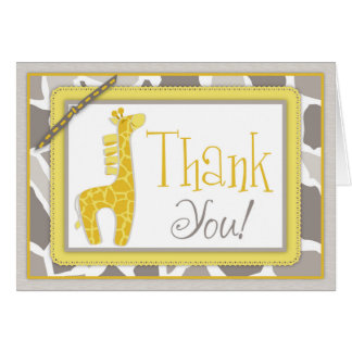 Gender Neutral Giraffe Safari Thank You Card