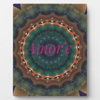 Gender Neutral Green Magenta Amor'e Mandala Display Plaque