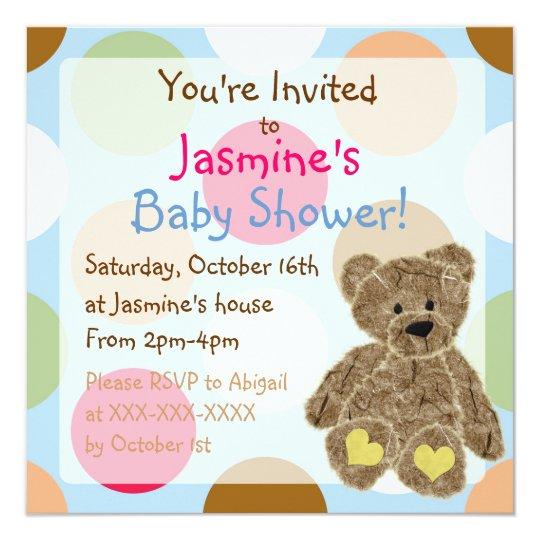 Gender neutral polka dot teddy bear shower invites