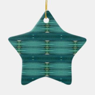Gender Neutral Shades of Blue Modern Pattern Ceramic Star Decoration