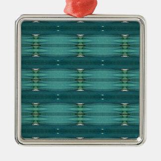 Gender Neutral Shades of Blue Modern Pattern Metal Ornament
