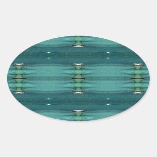 Gender Neutral Shades of Blue Modern Pattern Oval Sticker