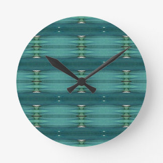 Gender Neutral Shades of Blue Modern Pattern Round Clock