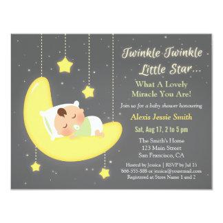 Gender Neutral Twinkle Little Star Baby Shower 11 Cm X 14 Cm Invitation Card