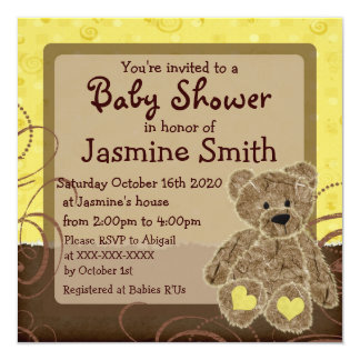 """Gender neutral yellow brown teddy shower invites 5.25"""" square invitation card"""