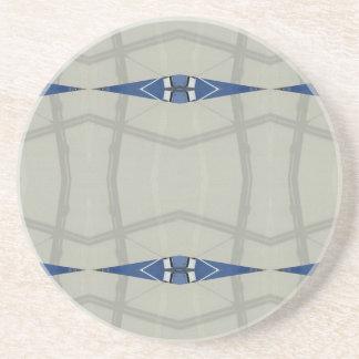Gender Nuetral Blue Light Gray Pattern Coaster