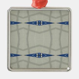 Gender Nuetral Blue Light Gray Pattern Metal Ornament