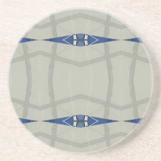Gender Nuetral Blue Light Gray Pattern Sandstone Coaster