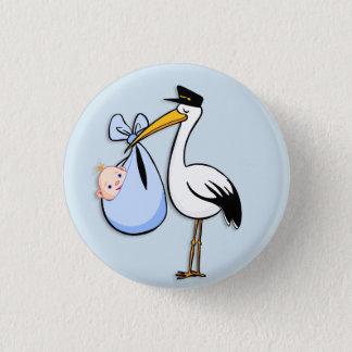 Gender Reveal Baby Boy White Stork Blue Cloth 3 Cm Round Badge