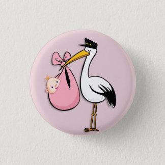 Gender Reveal Baby Girl White Stork Pink Cloth 3 Cm Round Badge