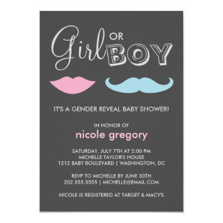 Gender Reveal Baby Shower 13 Cm X 18 Cm Invitation Card