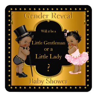 Gender Reveal Baby Shower Boy or Girl Ethnic 13 Cm X 13 Cm Square Invitation Card