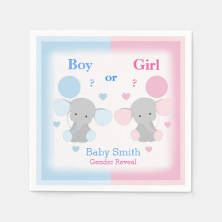 Gender Reveal Baby Shower Elephant Sprinkle Party Disposable Serviettes