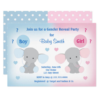Gender Reveal Baby Shower Invitation Elephant
