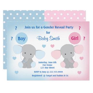 Gender Reveal Baby Shower Invitation Elephant